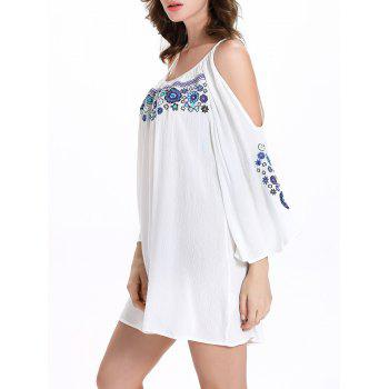 Stylish 3/4 Sleeve Ethnic Print Scoop Neck Cut Out Dress For Women - WHITE 2XL
