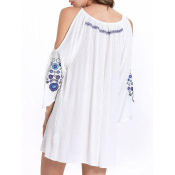 Stylish 3/4 Sleeve Ethnic Print Scoop Neck Cut Out Dress For Women - WHITE L