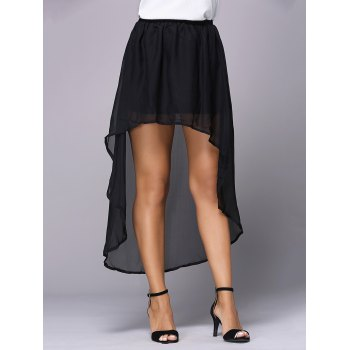 Stylish Irregular Chiffon Pure Color Skirt For Women