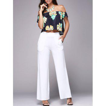 Floral Off The Shoulder Crop Top With Wide Leg Pants