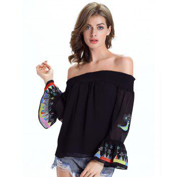 Stylish Ethnic Print Off The Shoulder Blouse For Women - BLACK 2XL