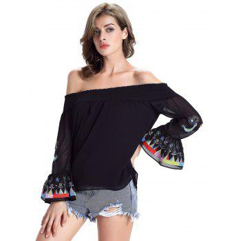 Stylish Ethnic Print Off The Shoulder Blouse For Women - BLACK BLACK