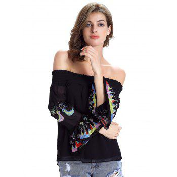 Stylish Ethnic Print Off The Shoulder Blouse For Women - M M