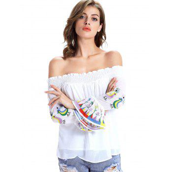 Stylish Ethnic Print Off The Shoulder Blouse For Women - WHITE 2XL