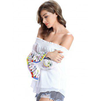 Stylish Ethnic Print Off The Shoulder Blouse For Women - WHITE WHITE