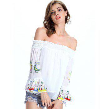 Stylish Ethnic Print Off The Shoulder Blouse For Women - WHITE L