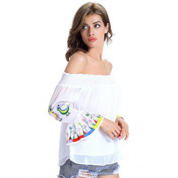 Stylish Ethnic Print Off The Shoulder Blouse For Women - WHITE M