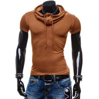 Trendy Summer Solid Color Button Design Piles Collar Short Sleeve Slimming Men's Polyester T-Shirt