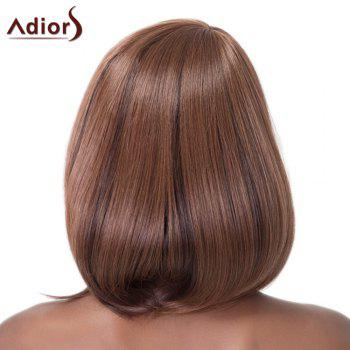 Brown Mixed Capless Straight Side Bang Synthetic Wig For Women - BROWN