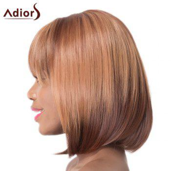 Brown Short Synthetic Straight Full Bang Capless Adiors Wig For Women - BROWN
