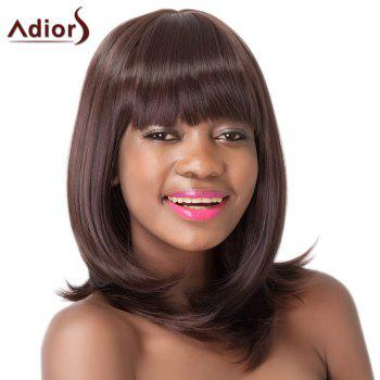 Silky Straight Dark Brown Synthetic Medium Full Bang Women's Adiors Wig