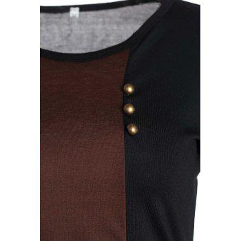 Women's O-Neck Cotton Multicolor Simple Design Comfortable Ladylike - COFFEE COFFEE