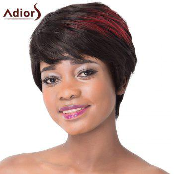 Outstanding Short Straight Synthetic Attractive Red Highlight Side Bang Capless Wig For Women