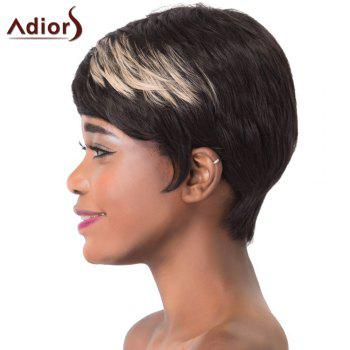 Spiffy Straight Brown Highlight Synthetic Short Haircut Capless Adiors Wig For Women - COLORMIX
