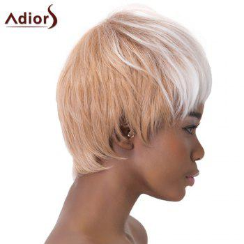 Stylish White Ombre Light Brown Synthetic Short Haircut Straight Capless Adiors Wig For Women - OMBRE