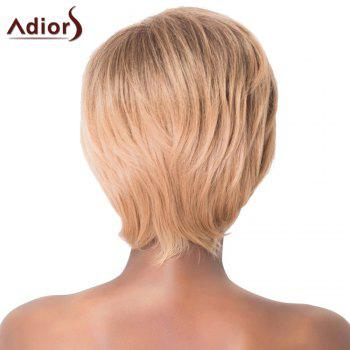 Charming Light Brown Short Capless Straight Side Bang Synthetic Women's Adiors Wig - LIGHT BROWN