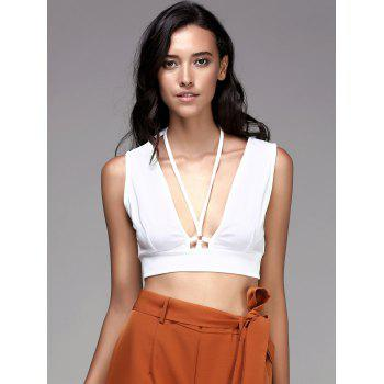 Fashionable Women's Plunging Neck Solid Color Crop Top - WHITE L