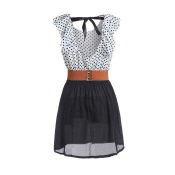 Sweet Splicing Color Polka Dot Backless Dress For Women - AS THE PICTURE M