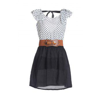 Sweet Splicing Color Polka Dot Backless Dress For Women
