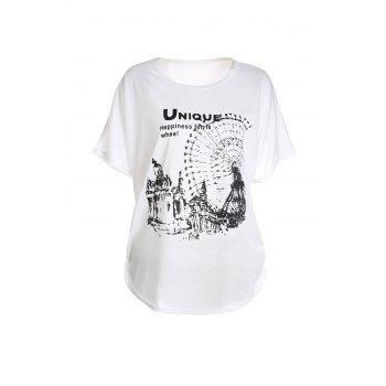 Loose-Fitting Ferris Wheel Pattern Batwing Short Sleeve Women's T-Shirt - WHITE WHITE