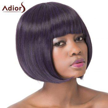 Sweet Violet Black Bob Style Short Straight Full Bang Synthetic Adiors Wig For Women - COLORMIX