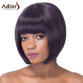 Sweet Violet Black Bob Style Short Straight Full Bang Synthetic Adiors Wig For Women