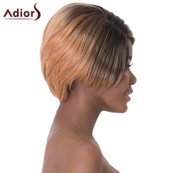 Faddish Oblique Bang Short Straight Mixed Color Capless Synthetic Adiors Wig For Women - COLORMIX