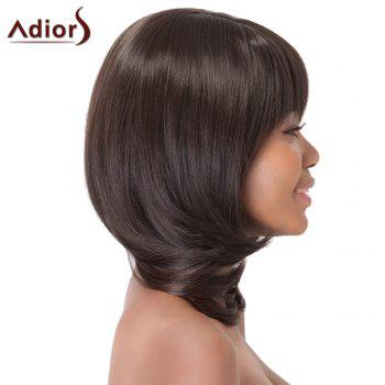 Graceful Medium Layered Full Bang Fluffy Straight Tail Adduction Synthetic Adiors Wig For Women - BLACK BROWN
