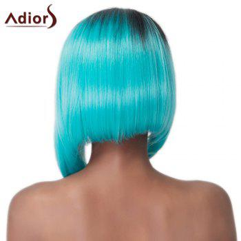 Faddish Asymmetry Hair Medium Straight Mixed Color Women's Synthetic Adiors Wig - COLORMIX