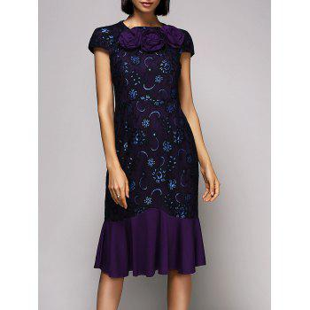 Vintage Women's Round Neck Cap Sleeve Floral Lace Midi Dress