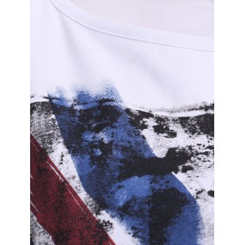 Chic Round Neck Flag Print Asymmetrical Cut Out Women's T-Shirt - WHITE ONE SIZE(FIT SIZE XS TO M)