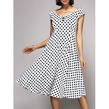 Stylish Women's V-Neck Cap Sleeve Polka Dot Midi Dress