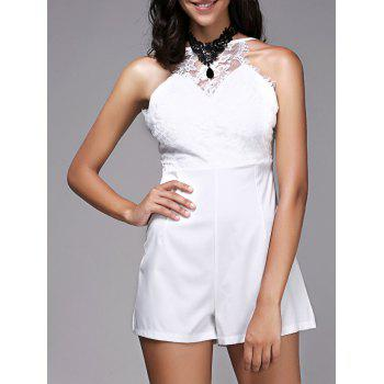 Fashionable Women's Strappy Lace Panelled Backless Romper