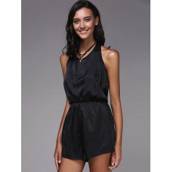 Fashionable Women's Halter Solid Color Romper - BLACK XL