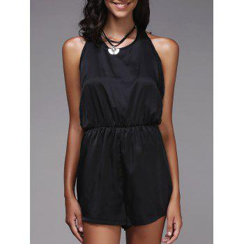 Fashionable Women's Halter Solid Color Romper