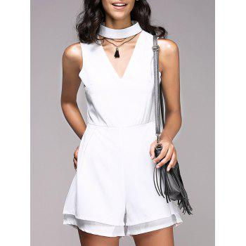 Fashionable Women's Stand Collar Cut Out Solid Color Romper