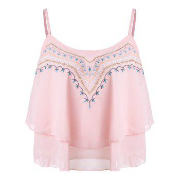 Ethnic Style Embroidery Spaghetti Strap Chiffon Tank Tops For Women