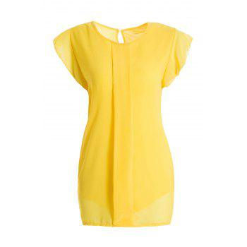 Women's Ladylike Round Neck Fly Sleeve Chiffon Summer Blouse