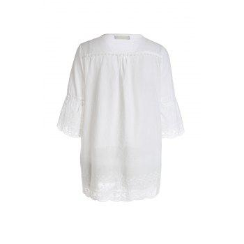 Refreshing Style Polyester Short Sleeves V-Neck Lace Splicing Women's Blouse - WHITE WHITE