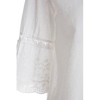 Refreshing Style Polyester Short Sleeves V-Neck Lace Splicing Women's Blouse - ONE SIZE ONE SIZE