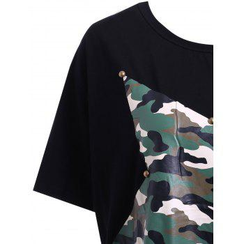 Trendy Women's Jewel Neck Star Patchwork Camo Print Fringed T-Shirt - BLACK ONE SIZE(FIT SIZE XS TO M)