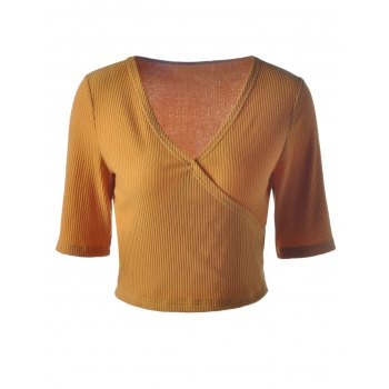 Stylish V-Neck Contracted Short T-shirt For Women - GINGER XL