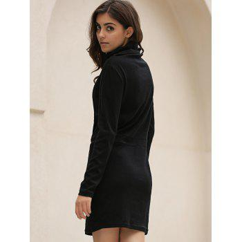 Stylish Long Sleeve Cowl Neck Bodycon Solid Color Women's Dress - BLACK L
