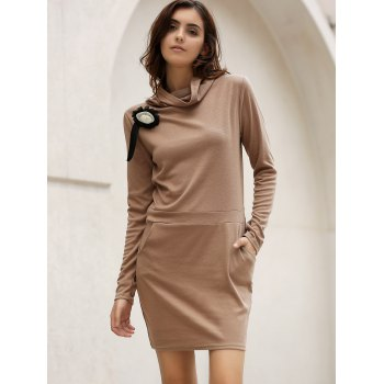 Stylish Long Sleeve Cowl Neck Bodycon Solid Color Women's Dress - COFFEE L