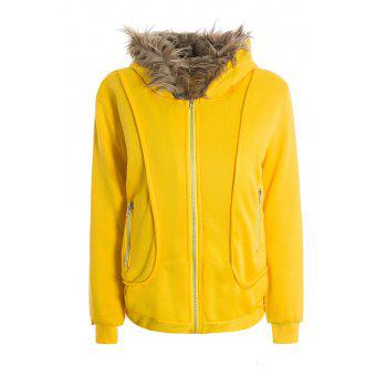 Casual Artificial Wool Embellished Hooded Zipper and Pocket Design Women's Cotton Coat