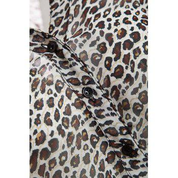 Leopard Print Stand Collar 3/4 Flanging Sleeve Chiffon Shirt - BLACK S