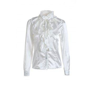 Elegant Palace Style Stand Collar Flouncing Embellished Long Sleeve Chiffon Women's Shirt - WHITE M