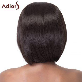 Stunning Short Straight Bob Style Side Bang Synthetic Adiors Wig For Women - BLACK BROWN