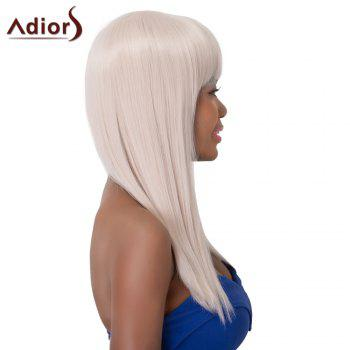 Graceful Long Straight Synthetic Full Bang Adiors Wig For Women - WHITE GREY