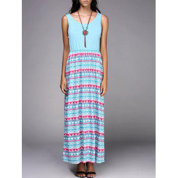 Scoop Neck Sleeveless Tribal Print Chic Spliced Women's Dress